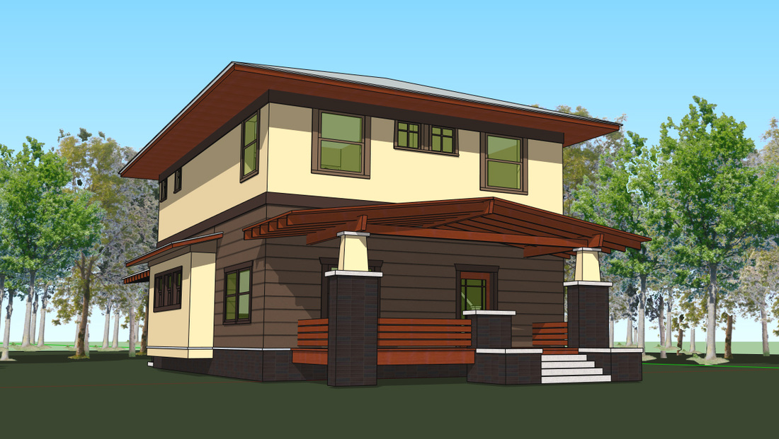 Four square house plans american four square sears for Modern foursquare house plans